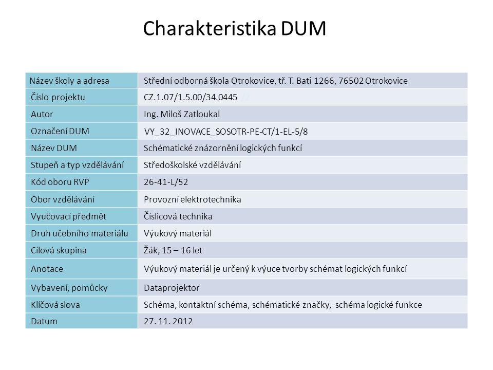 Charakteristika DUM 2 Název školy a adresaStřední odborná škola Otrokovice, tř. T. Bati 1266, 76502 Otrokovice Číslo projektuCZ.1.07/1.5.00/34.0445 /2