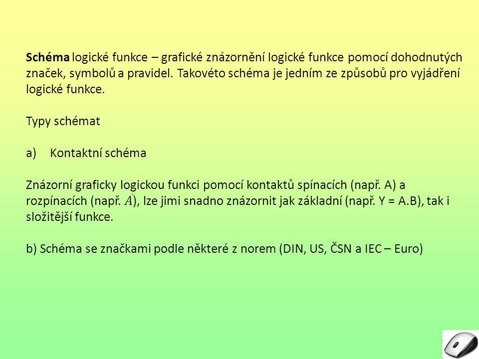 IMPLIKACE Rovnice: Tabulka: ABY 001 011 100 111 Kontaktní schéma: Žárovka Y nesvítí pouze v případě, že je rozpínací kontakt A uvolněn a spínací kontakt B rozepnut.