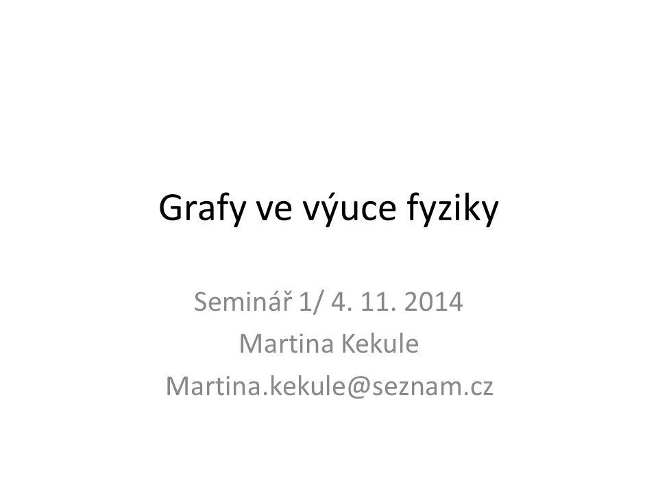 Grafy ve výuce fyziky Seminář 1/ 4. 11. 2014 Martina Kekule Martina.kekule@seznam.cz