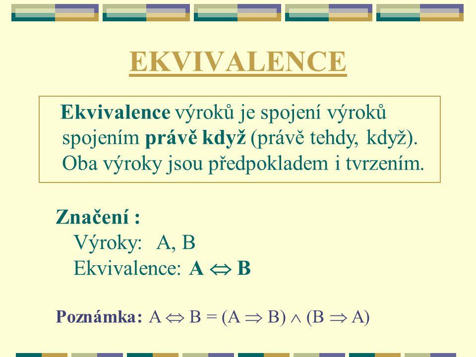 EKVIVALENCE Značení : Výroky: A, B Ekvivalence: A  B Poznámka: A  B = (A  B)  (B  A) Ekvivalence výroků je spojení výroků spojením právě když (právě tehdy, když).
