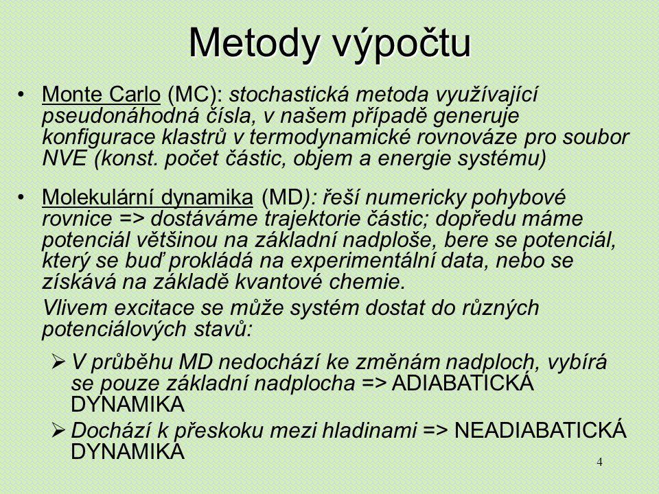 4 Metody výpočtu Monte Carlo (MC): stochastická metoda využívající pseudonáhodná čísla, v našem případě generuje konfigurace klastrů v termodynamické