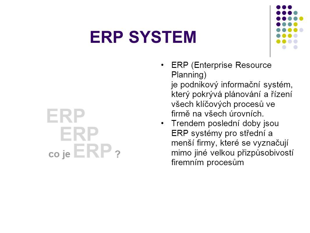 ERP SYSTEM ERP (Enterprise Resource Planning) je podnikový informační systém, který pokrývá plánování a řízení všech klíčových procesů ve firmě na všech úrovních.