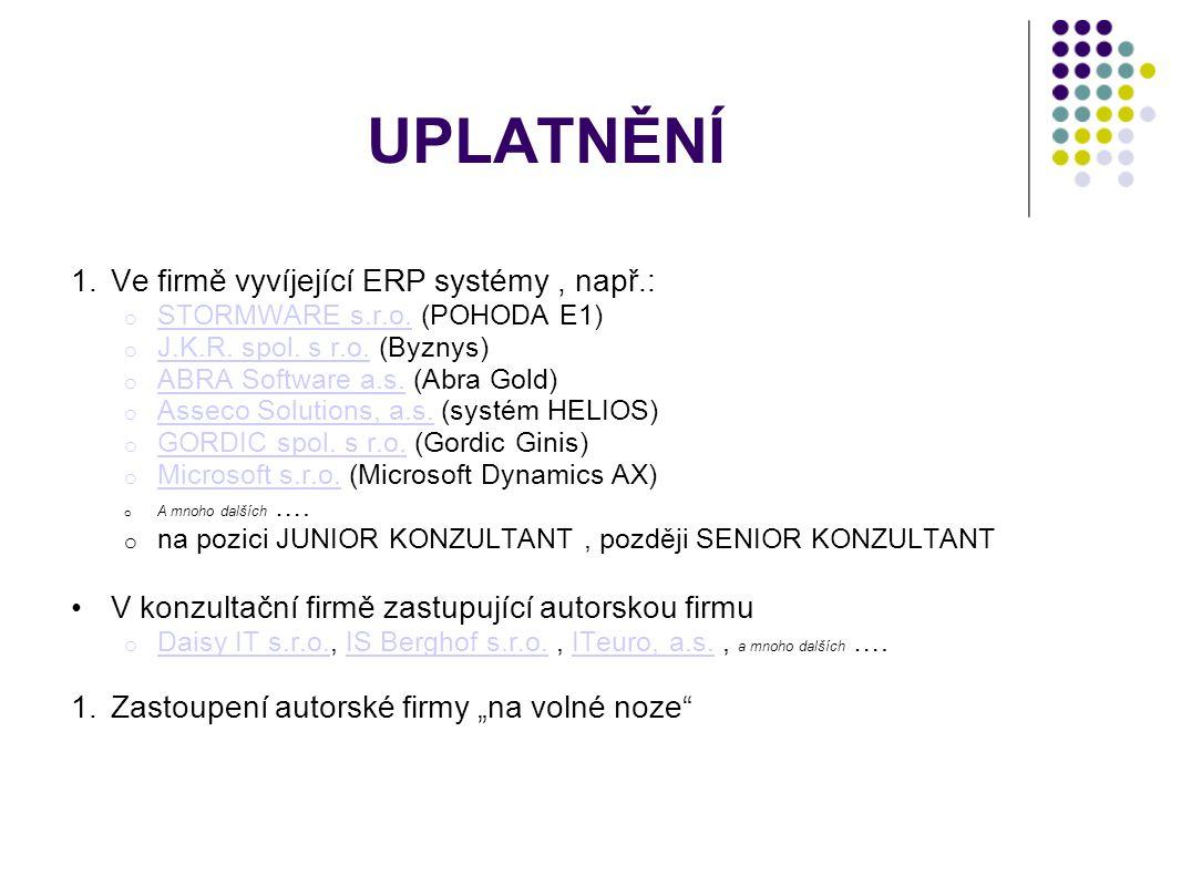 UPLATNĚNÍ 1.Ve firmě vyvíjející ERP systémy, např.: o STORMWARE s.r.o.