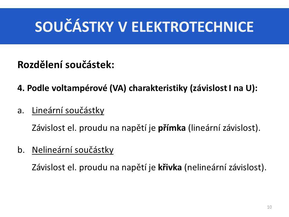 SOUČÁSTKY V ELEKTROTECHNICE 10 Rozdělení součástek: 4. Podle voltampérové (VA) charakteristiky (závislost I na U): a.Lineární součástky Závislost el.