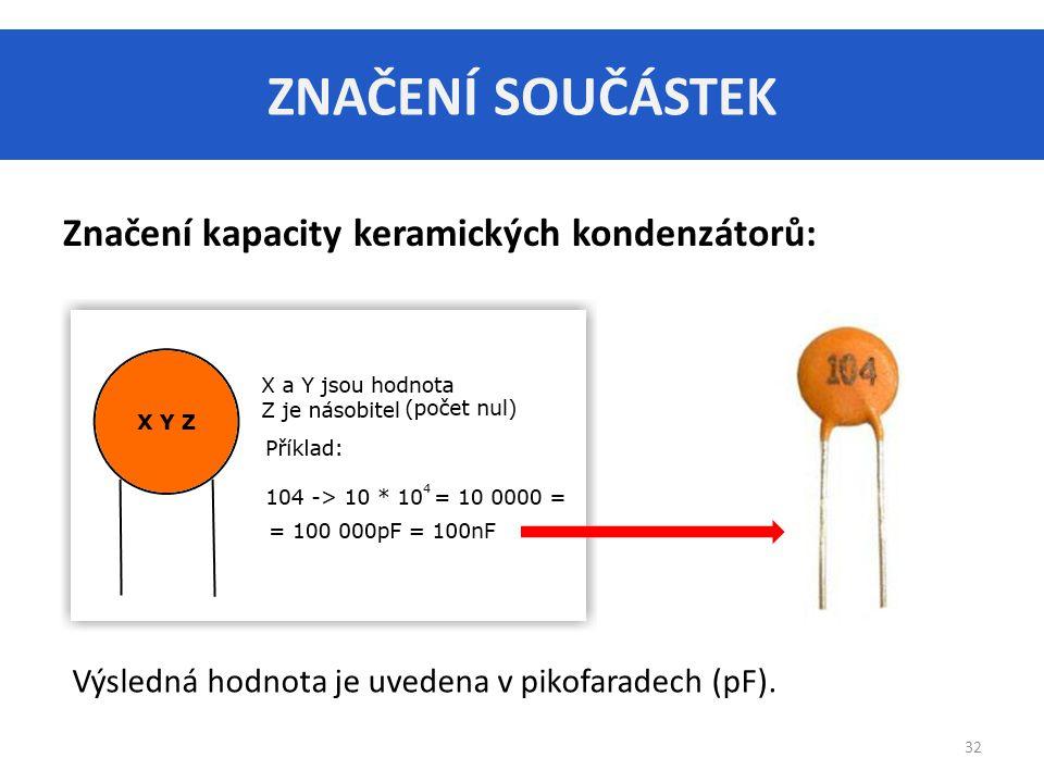 ZNAČENÍ SOUČÁSTEK 32 Značení kapacity keramických kondenzátorů: Výsledná hodnota je uvedena v pikofaradech (pF).