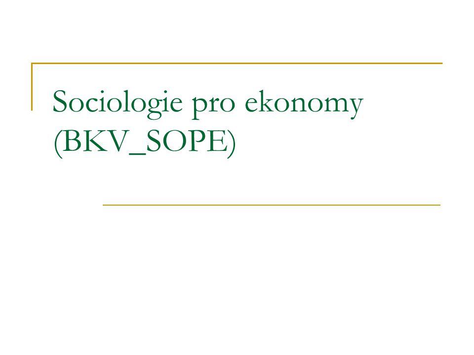 Struktura kurzu 1) Úvod do sociologie (sociologie jako věda o společnosti; důvody vzniku sociologie; vymezení, vztah k jiným vědám a praxi; sociální realita a způsoby jejího poznání; naturalismus, psychologismus a sociologismus; speciální sociologické disciplíny; základní paradigmata sociologického myšlení; teorie konsensuální, konfliktní, interpretativní).