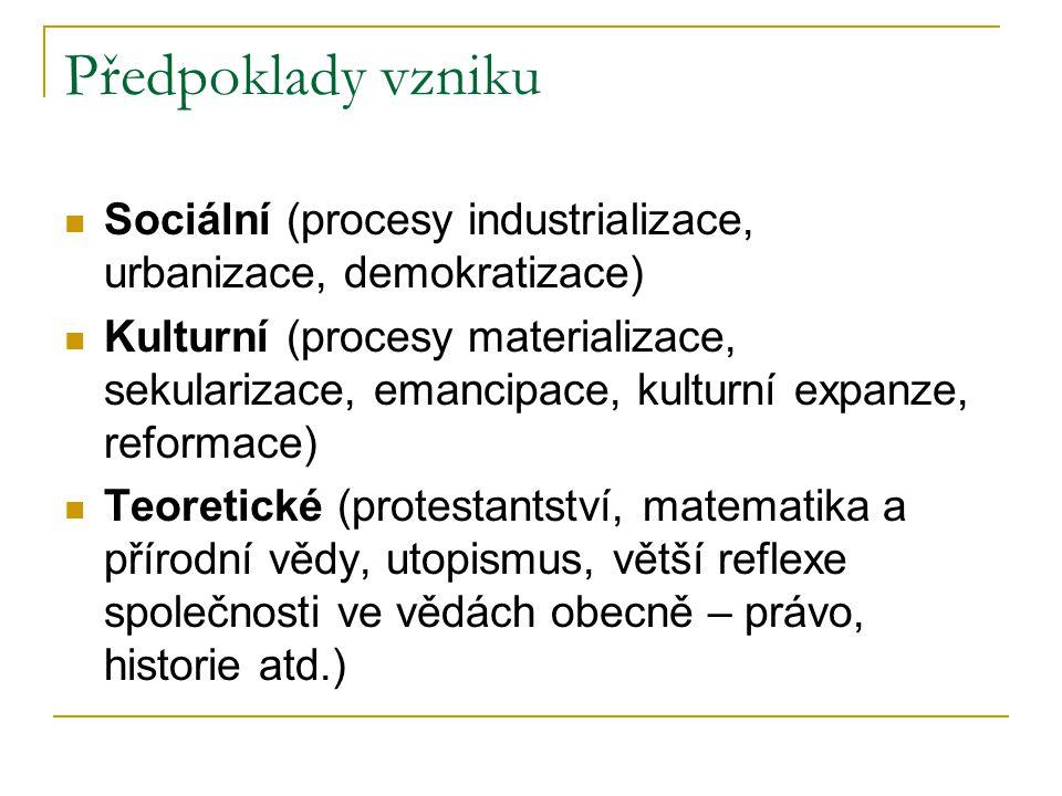 Předpoklady vzniku Sociální (procesy industrializace, urbanizace, demokratizace) Kulturní (procesy materializace, sekularizace, emancipace, kulturní e