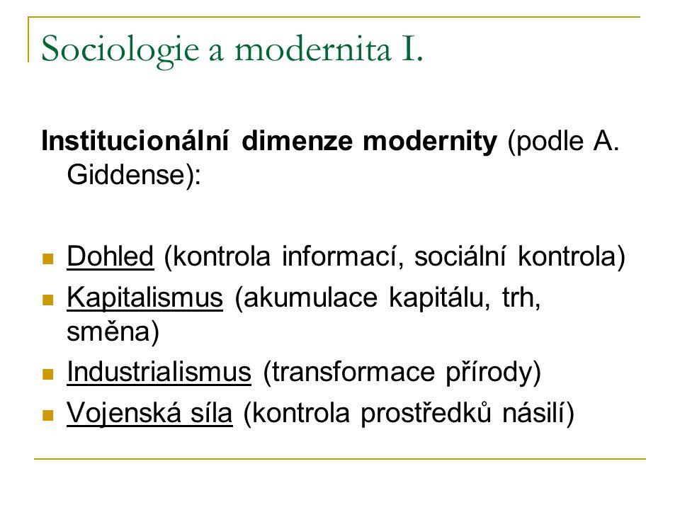 Sociologie a modernita I. Institucionální dimenze modernity (podle A. Giddense): Dohled (kontrola informací, sociální kontrola) Kapitalismus (akumulac