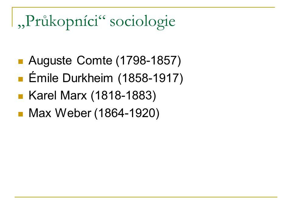 """Průkopníci"" sociologie Auguste Comte (1798-1857) Émile Durkheim (1858-1917) Karel Marx (1818-1883) Max Weber (1864-1920)"