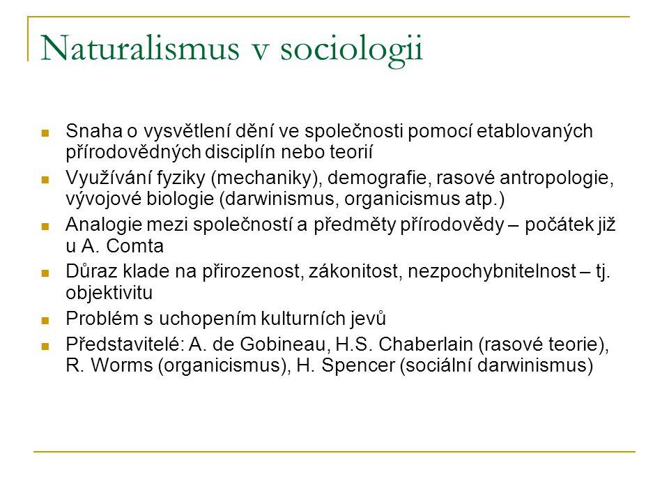 Naturalismus v sociologii Snaha o vysvětlení dění ve společnosti pomocí etablovaných přírodovědných disciplín nebo teorií Využívání fyziky (mechaniky)