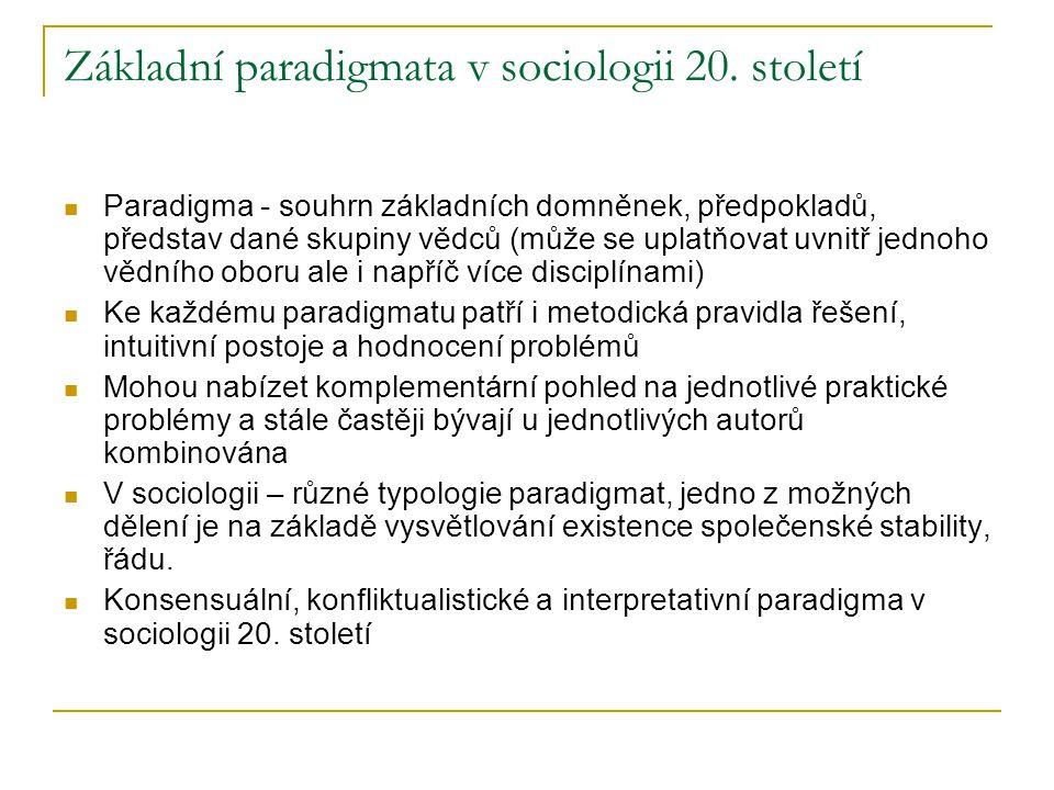 Základní paradigmata v sociologii 20. století Paradigma - souhrn základních domněnek, předpokladů, představ dané skupiny vědců (může se uplatňovat uvn