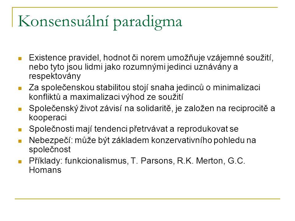 Konsensuální paradigma Existence pravidel, hodnot či norem umožňuje vzájemné soužití, nebo tyto jsou lidmi jako rozumnými jedinci uznávány a respektov