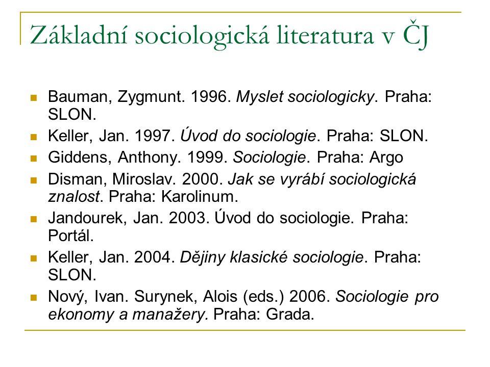 Základní sociologická literatura v ČJ Bauman, Zygmunt. 1996. Myslet sociologicky. Praha: SLON. Keller, Jan. 1997. Úvod do sociologie. Praha: SLON. Gid
