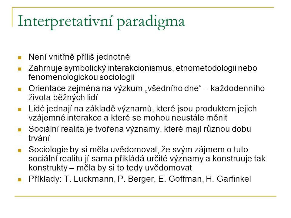Interpretativní paradigma Není vnitřně příliš jednotné Zahrnuje symbolický interakcionismus, etnometodologii nebo fenomenologickou sociologii Orientac