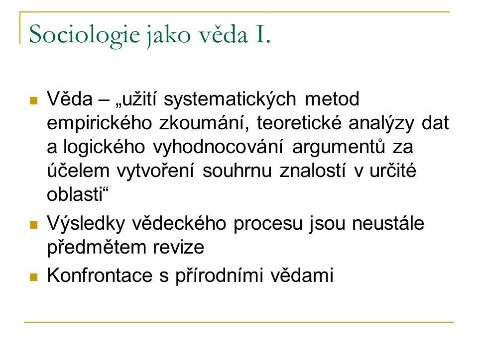 """Sociologie jako věda I. Věda – """"užití systematických metod empirického zkoumání, teoretické analýzy dat a logického vyhodnocování argumentů za účelem"""