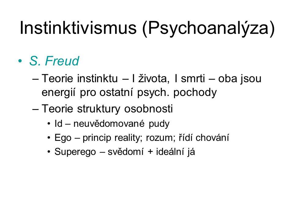 Instinktivismus (Psychoanalýza) S. Freud –Teorie instinktu – I života, I smrti – oba jsou energií pro ostatní psych. pochody –Teorie struktury osobnos