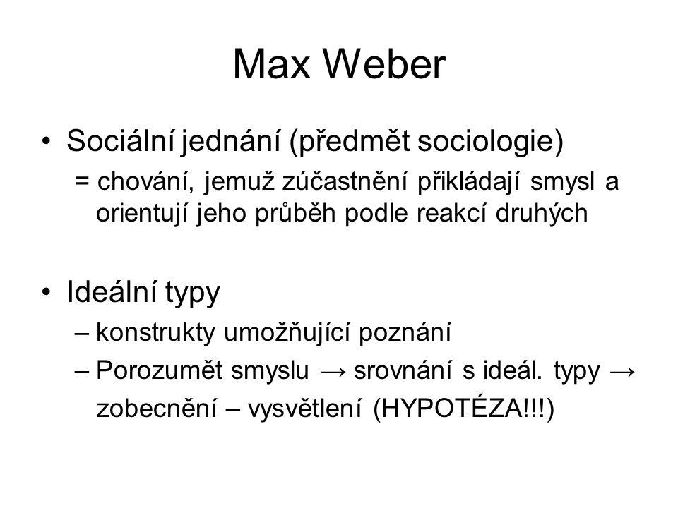 Max Weber Sociální jednání (předmět sociologie) = chování, jemuž zúčastnění přikládají smysl a orientují jeho průběh podle reakcí druhých Ideální typy –konstrukty umožňující poznání –Porozumět smyslu → srovnání s ideál.