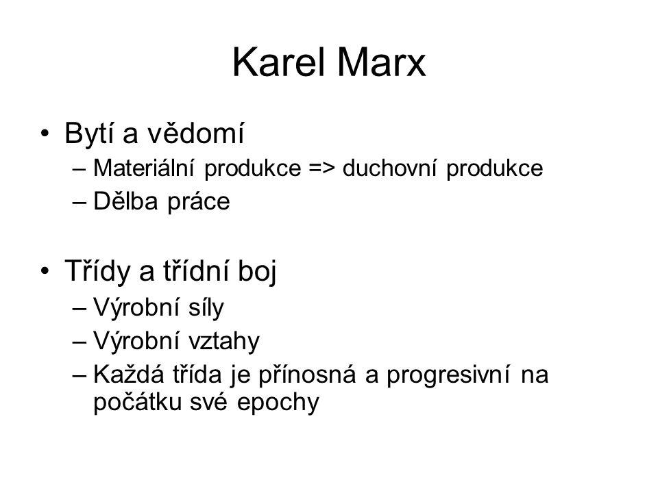 Karel Marx Bytí a vědomí –Materiální produkce => duchovní produkce –Dělba práce Třídy a třídní boj –Výrobní síly –Výrobní vztahy –Každá třída je přínosná a progresivní na počátku své epochy