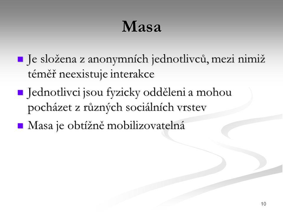 10 Masa Je složena z anonymních jednotlivců, mezi nimiž téměř neexistuje interakce Je složena z anonymních jednotlivců, mezi nimiž téměř neexistuje interakce Jednotlivci jsou fyzicky odděleni a mohou pocházet z různých sociálních vrstev Jednotlivci jsou fyzicky odděleni a mohou pocházet z různých sociálních vrstev Masa je obtížně mobilizovatelná Masa je obtížně mobilizovatelná