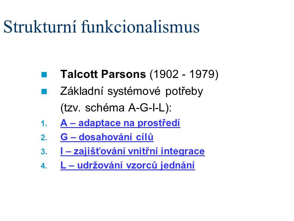 Strukturní funkcionalismus Talcott Parsons (1902 - 1979) Základní systémové potřeby (tzv. schéma A-G-I-L): 1. A – adaptace na prostředí 2. G – dosahov