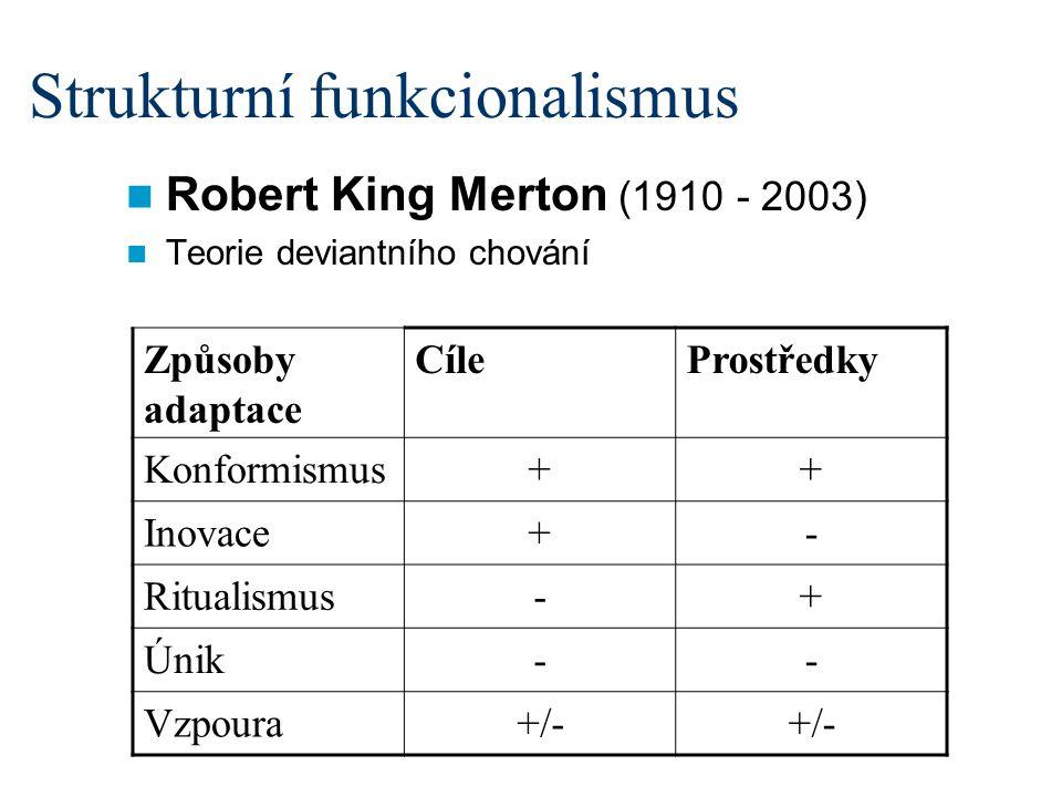 Strukturní funkcionalismus Robert King Merton (1910 - 2003) Teorie deviantního chování Způsoby adaptace CíleProstředky Konformismus++ Inovace+- Ritualismus-+ Únik-- Vzpoura+/-