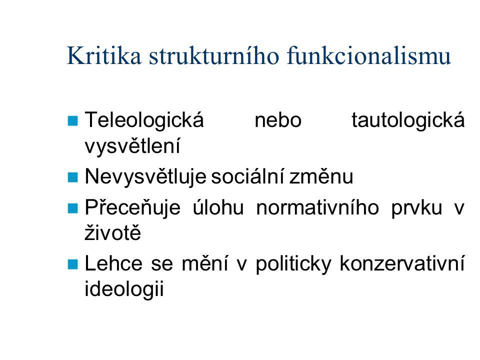 Kritika strukturního funkcionalismu Teleologická nebo tautologická vysvětlení Nevysvětluje sociální změnu Přeceňuje úlohu normativního prvku v životě Lehce se mění v politicky konzervativní ideologii