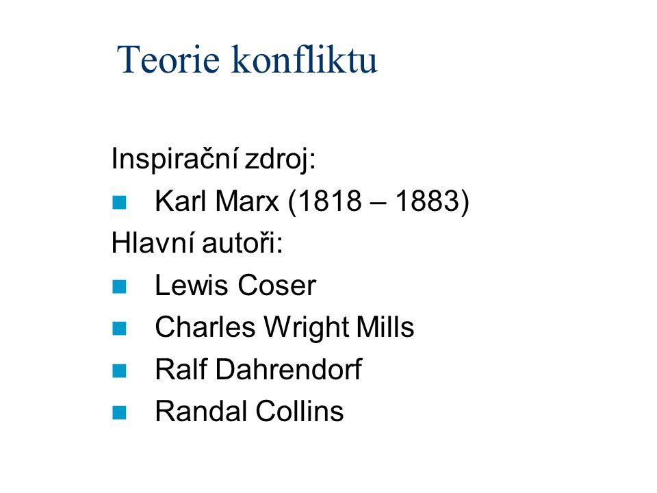 Teorie konfliktu Inspirační zdroj: Karl Marx (1818 – 1883) Hlavní autoři: Lewis Coser Charles Wright Mills Ralf Dahrendorf Randal Collins