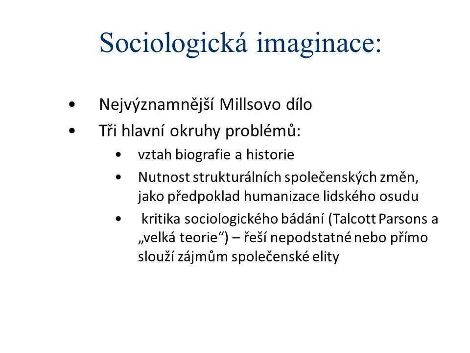 """Sociologická imaginace: Nejvýznamnější Millsovo dílo Tři hlavní okruhy problémů: vztah biografie a historie Nutnost strukturálních společenských změn, jako předpoklad humanizace lidského osudu kritika sociologického bádání (Talcott Parsons a """"velká teorie ) – řeší nepodstatné nebo přímo slouží zájmům společenské elity"""