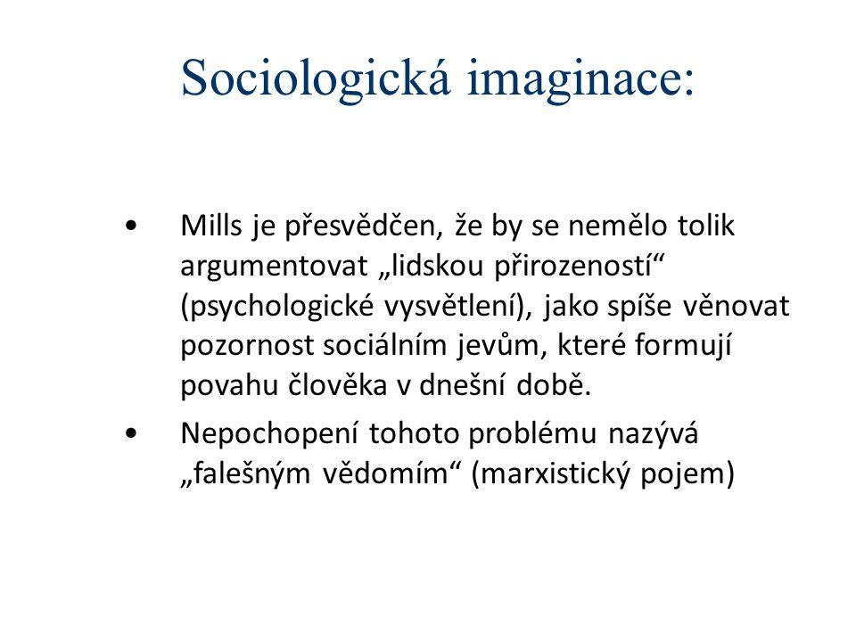 """Sociologická imaginace: Mills je přesvědčen, že by se nemělo tolik argumentovat """"lidskou přirozeností (psychologické vysvětlení), jako spíše věnovat pozornost sociálním jevům, které formují povahu člověka v dnešní době."""