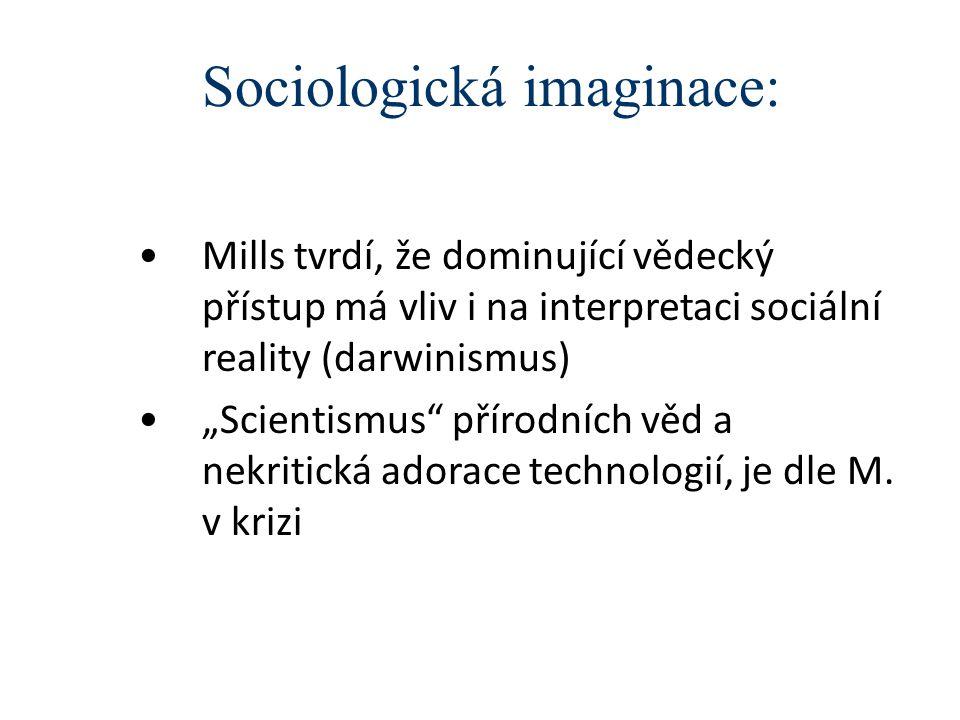 """Sociologická imaginace: Mills tvrdí, že dominující vědecký přístup má vliv i na interpretaci sociální reality (darwinismus) """"Scientismus"""" přírodních v"""