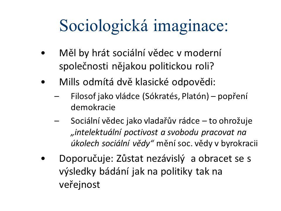 Sociologická imaginace: Měl by hrát sociální vědec v moderní společnosti nějakou politickou roli? Mills odmítá dvě klasické odpovědi: –Filosof jako vl