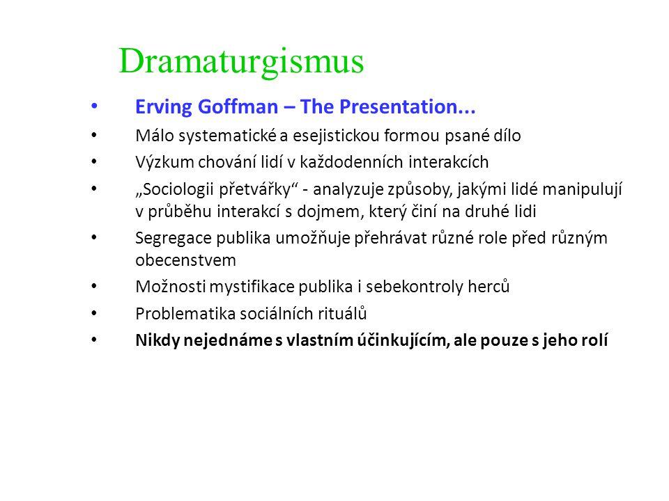 Dramaturgismus Erving Goffman – The Presentation... Málo systematické a esejistickou formou psané dílo Výzkum chování lidí v každodenních interakcích