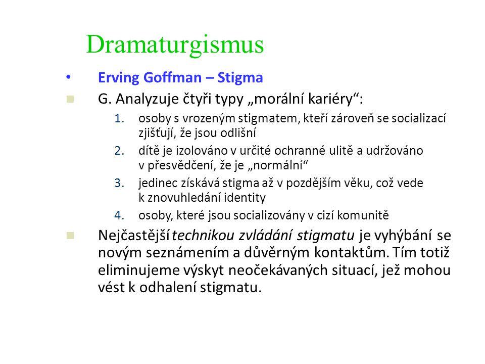 """Dramaturgismus Erving Goffman – Stigma G. Analyzuje čtyři typy """"morální kariéry"""": 1.osoby s vrozeným stigmatem, kteří zároveň se socializací zjišťují,"""