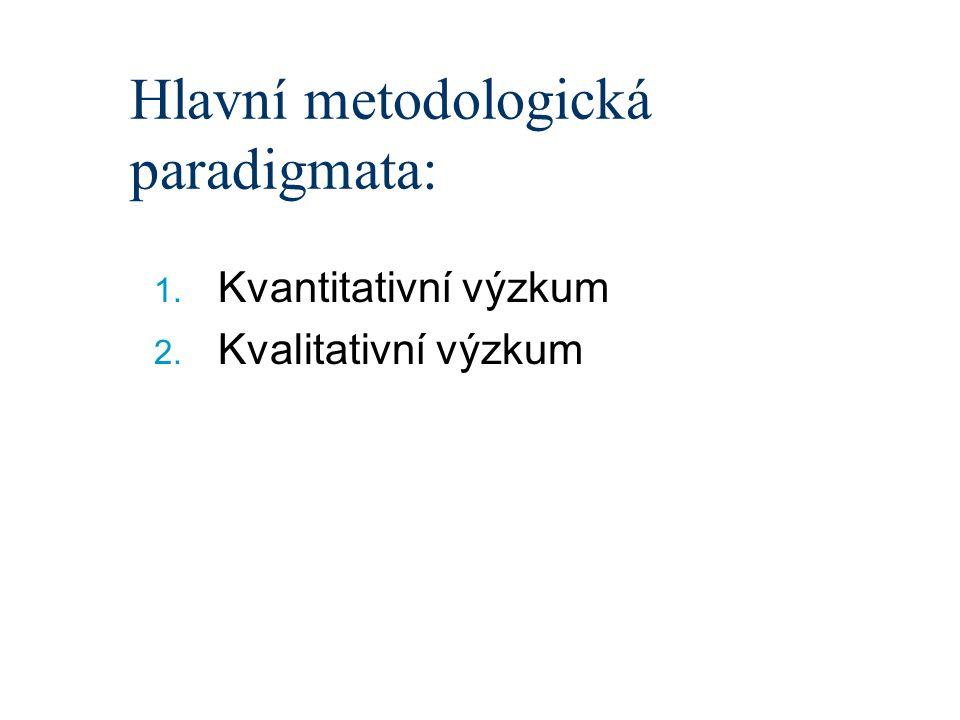Hlavní metodologická paradigmata: 1. Kvantitativní výzkum 2. Kvalitativní výzkum