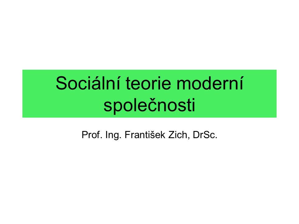 Sociální teorie moderní společnosti Prof. Ing. František Zich, DrSc.