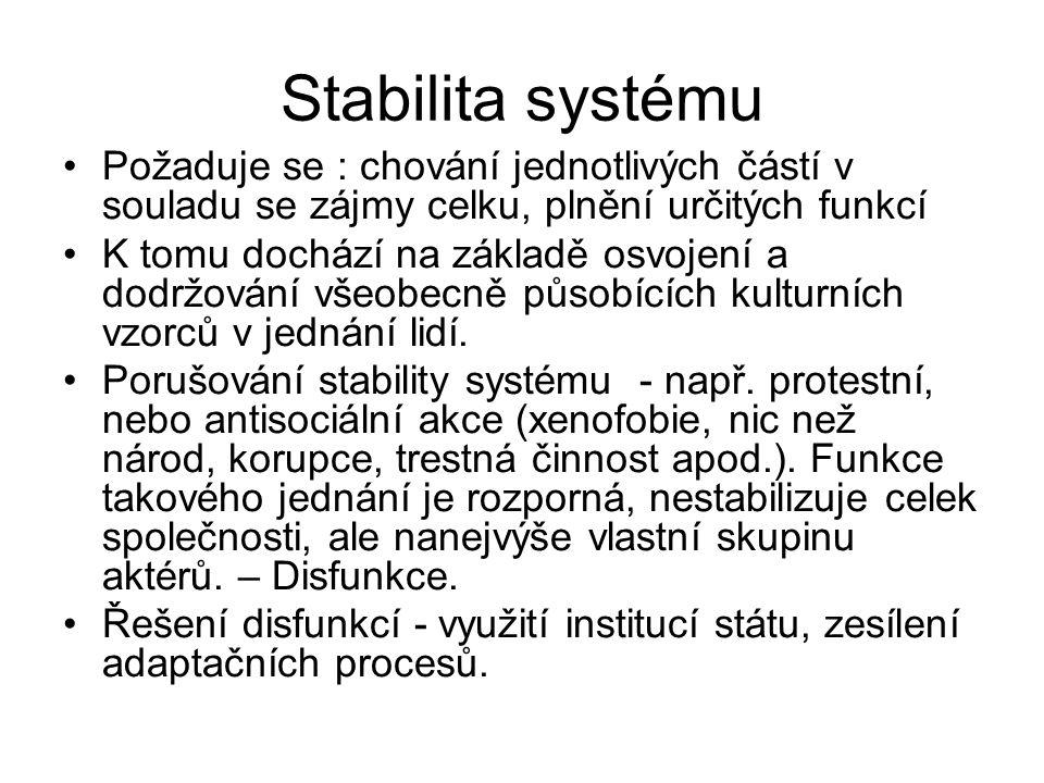 Stabilita systému Požaduje se : chování jednotlivých částí v souladu se zájmy celku, plnění určitých funkcí K tomu dochází na základě osvojení a dodrž