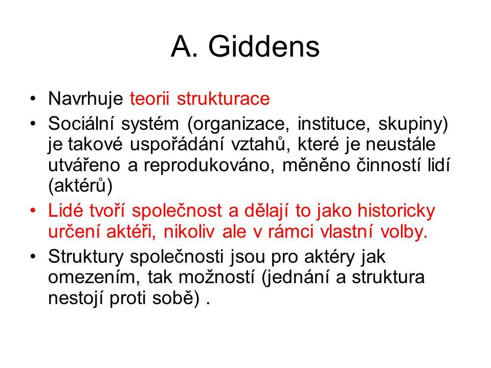 A. Giddens Navrhuje teorii strukturace Sociální systém (organizace, instituce, skupiny) je takové uspořádání vztahů, které je neustále utvářeno a repr