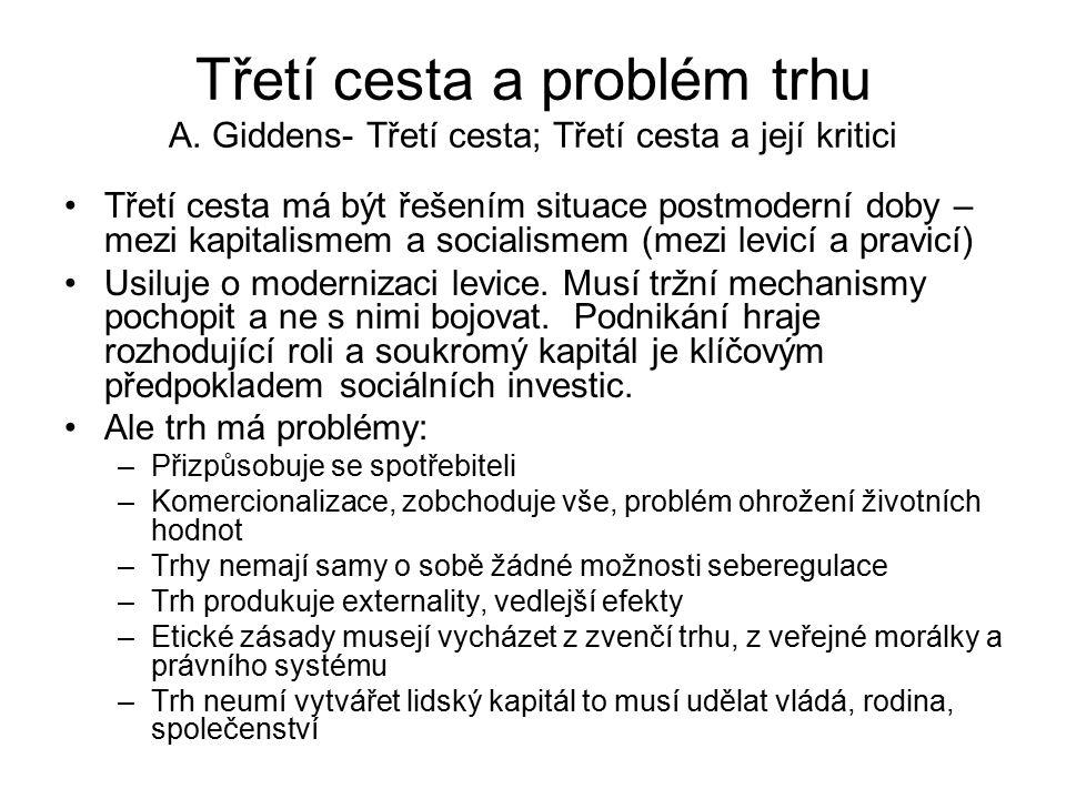 Třetí cesta a problém trhu A. Giddens- Třetí cesta; Třetí cesta a její kritici Třetí cesta má být řešením situace postmoderní doby – mezi kapitalismem
