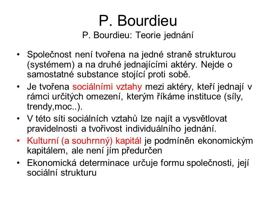 P. Bourdieu P. Bourdieu: Teorie jednání Společnost není tvořena na jedné straně strukturou (systémem) a na druhé jednajícími aktéry. Nejde o samostatn
