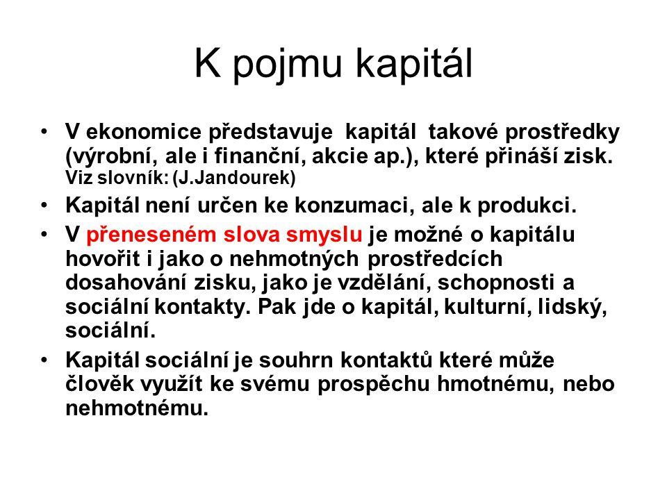 K pojmu kapitál V ekonomice představuje kapitál takové prostředky (výrobní, ale i finanční, akcie ap.), které přináší zisk. Viz slovník: (J.Jandourek)