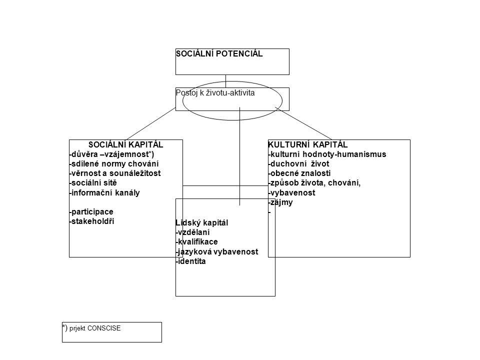 SOCIÁLNÍ POTENCIÁL SOCIÁLNÍ KAPITÁL -důvěra –vzájemnost*) -sdílené normy chování -věrnost a sounáležitost -sociální sítě -informační kanály -participa