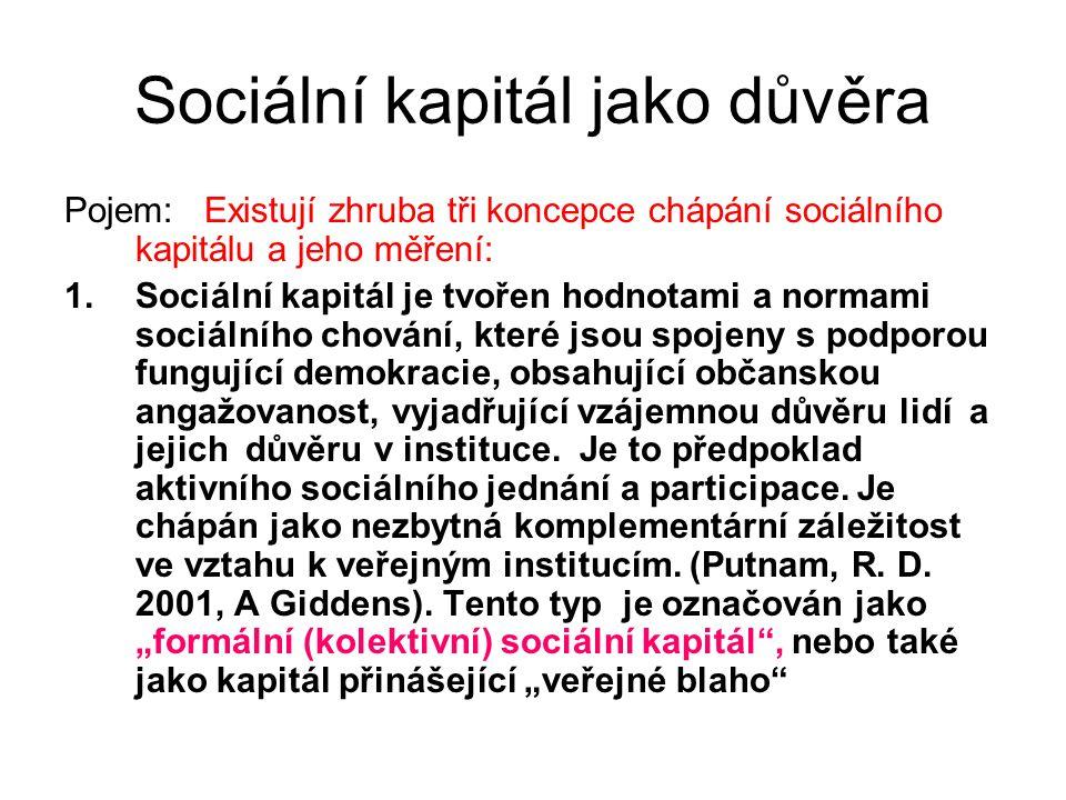 Sociální kapitál jako důvěra Pojem: Existují zhruba tři koncepce chápání sociálního kapitálu a jeho měření: 1.Sociální kapitál je tvořen hodnotami a n