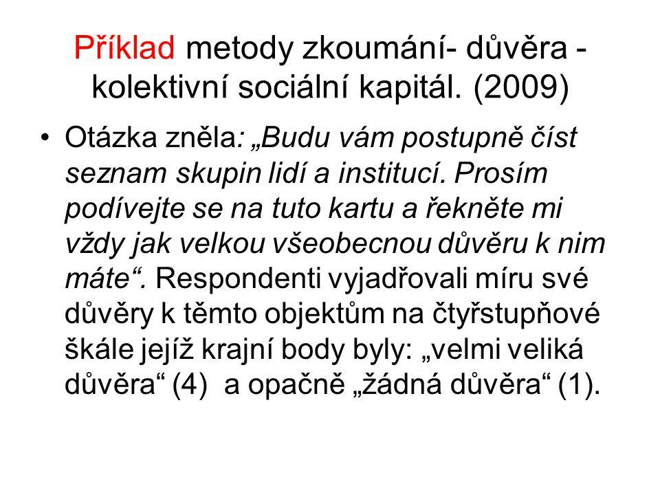 """Příklad metody zkoumání- důvěra - kolektivní sociální kapitál. (2009) Otázka zněla: """"Budu vám postupně číst seznam skupin lidí a institucí. Prosím pod"""