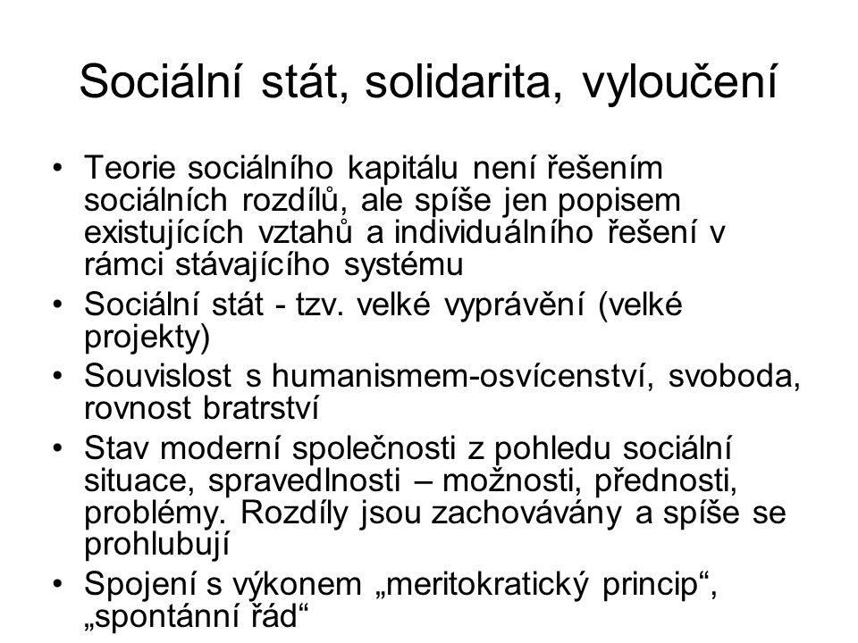 Sociální stát, solidarita, vyloučení Teorie sociálního kapitálu není řešením sociálních rozdílů, ale spíše jen popisem existujících vztahů a individuá