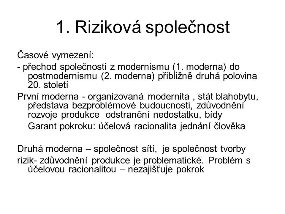 1. Riziková společnost Časové vymezení: - přechod společnosti z modernismu (1. moderna) do postmodernismu (2. moderna) přibližně druhá polovina 20. st