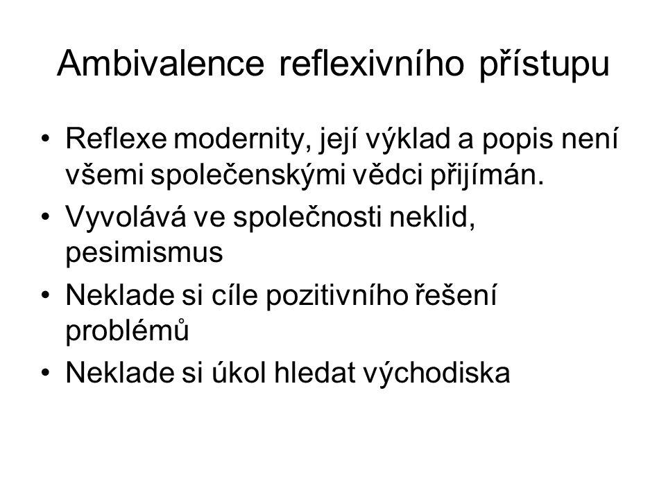 Ambivalence reflexivního přístupu Reflexe modernity, její výklad a popis není všemi společenskými vědci přijímán. Vyvolává ve společnosti neklid, pesi