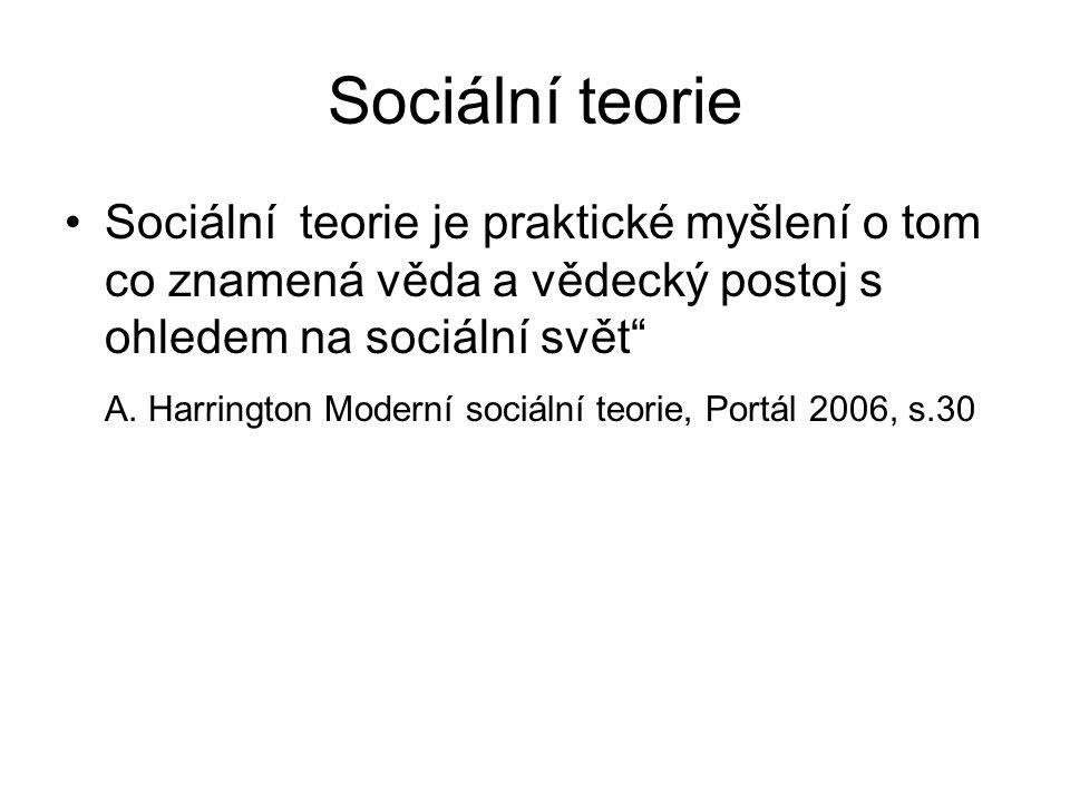 """Sociální teorie Sociální teorie je praktické myšlení o tom co znamená věda a vědecký postoj s ohledem na sociální svět"""" A. Harrington Moderní sociální"""