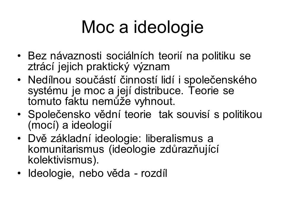 Moc a ideologie Bez návaznosti sociálních teorií na politiku se ztrácí jejich praktický význam Nedílnou součástí činností lidí i společenského systému