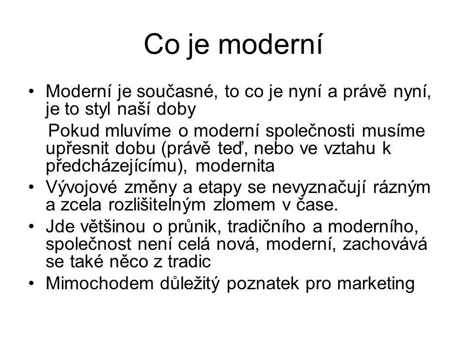 Co je moderní Moderní je současné, to co je nyní a právě nyní, je to styl naší doby Pokud mluvíme o moderní společnosti musíme upřesnit dobu (právě te