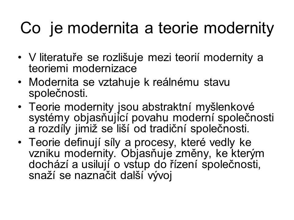 Co je modernita a teorie modernity V literatuře se rozlišuje mezi teorií modernity a teoriemi modernizace Modernita se vztahuje k reálnému stavu spole